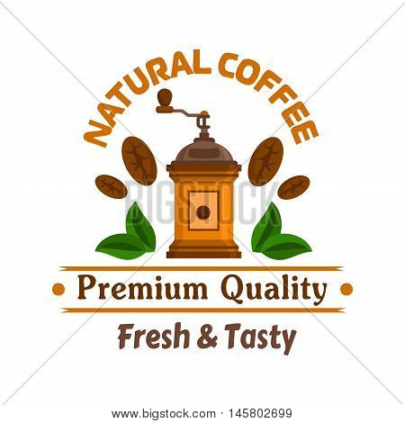 Cafe emblem. Retro coffee mill, coffee beans and leaves label template for cafeteria signboard, fast food menu, coffee shop door sticker