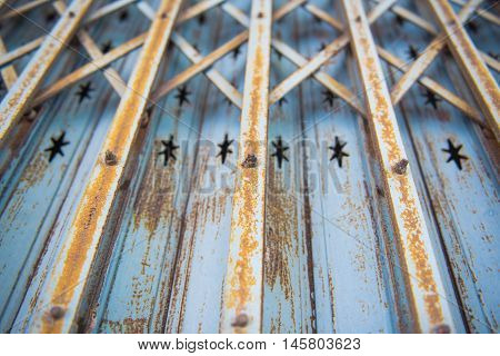 Old Vintage Steel door Retro style background and texture