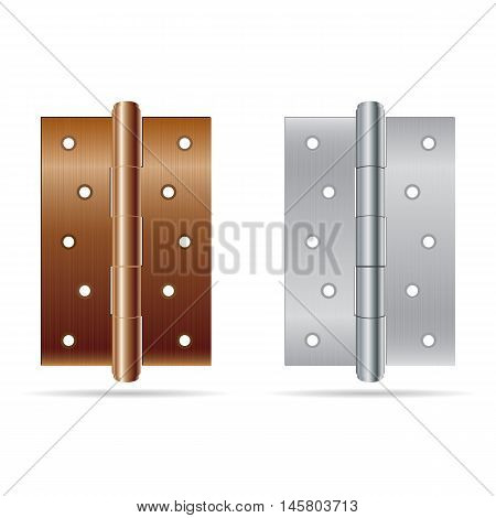 Hinges bronze color with silver steel texture isolated on white background.