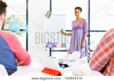 Casual businesswoman giving a presentation in the office