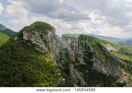 The Verdon chasm and cliffs in France