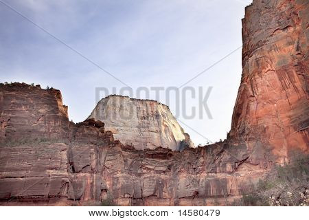 Great White Throne Red Rock Walls Zion Canyon National Park Utah