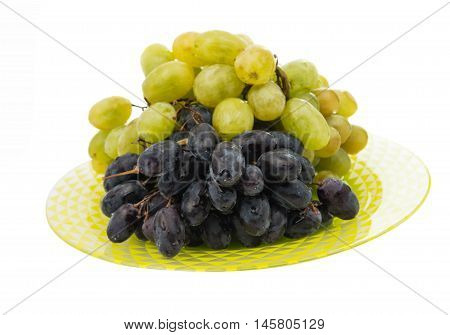 grapes in a plate on a white background