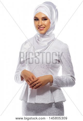 Muslim young girl on white isolated