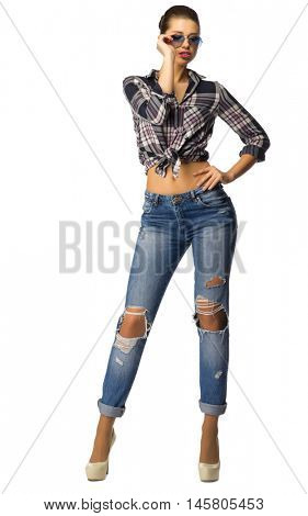 Young girl in blue jeans isolated