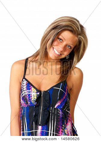 Young woman smiling in studio