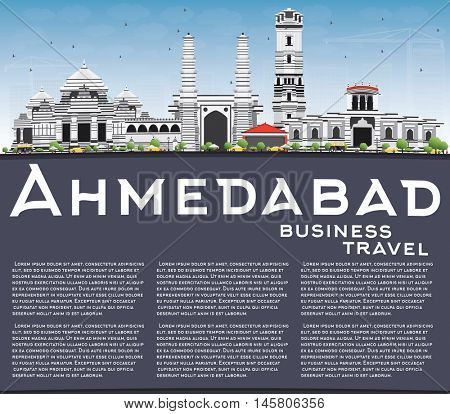 Ahmedabad Skyline with Gray Buildings, Blue Sky and Copy Space. Business Travel and Tourism Concept with Historic Buildings. Image for Presentation Banner Placard and Web Site.