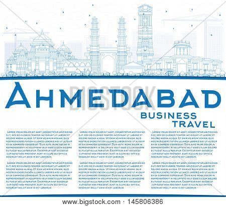 Outline Ahmedabad Skyline with Blue Buildings and Copy Space. Business Travel and Tourism Concept with Historic Buildings. Image for Presentation Banner Placard and Web Site.