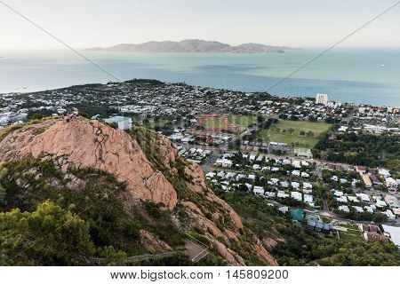 Looking down on Townsville City from Castle Hill viewpoint to Magnetic Island