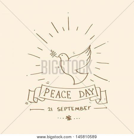 World Peace Day Poster White Dove Bird Symbol Flat Vector Illustration