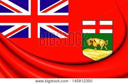 Flag of Manitoba Canada. 3D Illustration. Close Up.