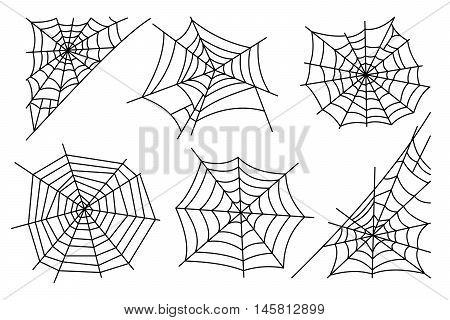 Halloween spider web isolated on white background. Hector venom cobweb set. Vector illustration poster