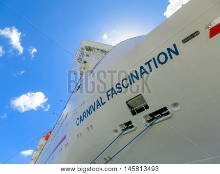 San Juan, Puerto Rico - May 09, 2016: The Carnival Cruise Ship Fascination, at dock. She is one of 8 sister ships and received a million dollar refurbishment in 2006