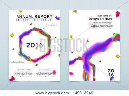 Cover of the white annual report with abstract watercolor hexahedron. Vector template of flyers for your business. Corporate style of presentation. Poster with color shapes on the white background.