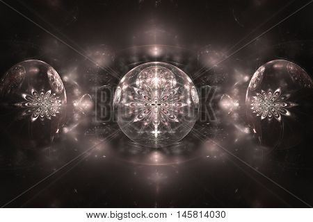 Shining crystal spheres with flower ornament on black background. Computer-generated fractal in pale rose and grey colors.