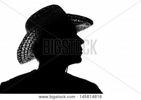 Young Man In A Straw Hat - Silhouette