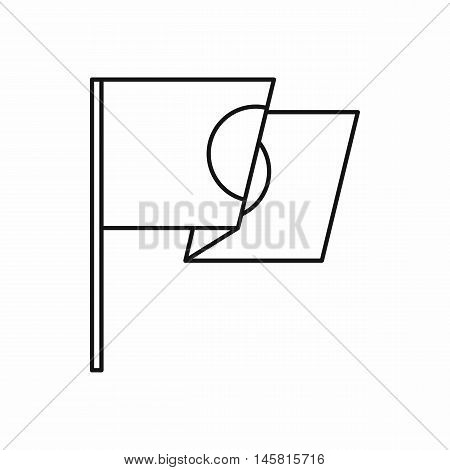 Flag of Japan icon in outline style isolated on white background vector illustration