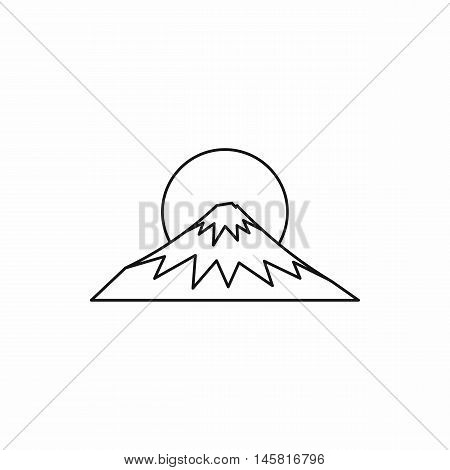 Sacred symbol of Japan Mount Fuji icon in outline style isolated on white background vector illustration