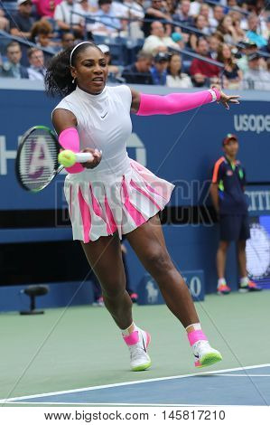 NEW YORK - SEPTEMBER 5, 2016: Grand Slam champion Serena Williams of United States in action during her round four match at US Open 2016 at Billie Jean King National Tennis Center in New York