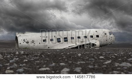 The Abandoned Wreck Of A Us Military Plane On Southern Iceland - Stormy Clouds