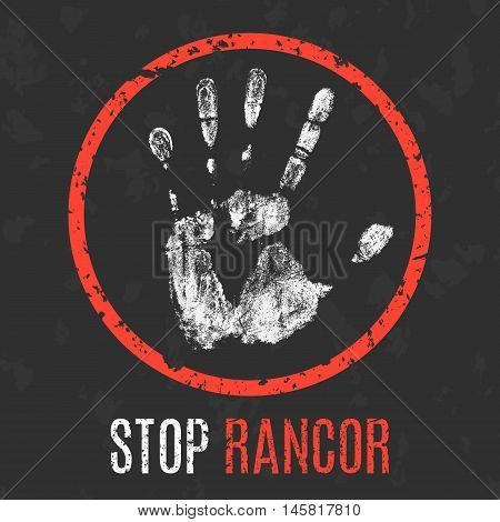 Conceptual vector illustration. Negative human states and emotions. Stop rancor sign.
