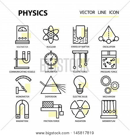 Modern thin linear vector icons of physics and laboratory experiments. Logo for schools, universities, colleges, research and education.