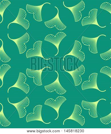 Ginkgo Biloba Leaves Seamless Pattern On Green Background