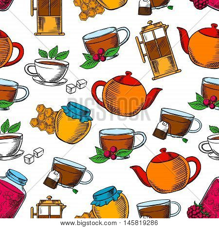Tea time seamless background. Wallpaper with vector pattern icons of tea pot, kettle, coffee maker, french press, honey in honeycomb, jam, berries, sugar, tea leaves