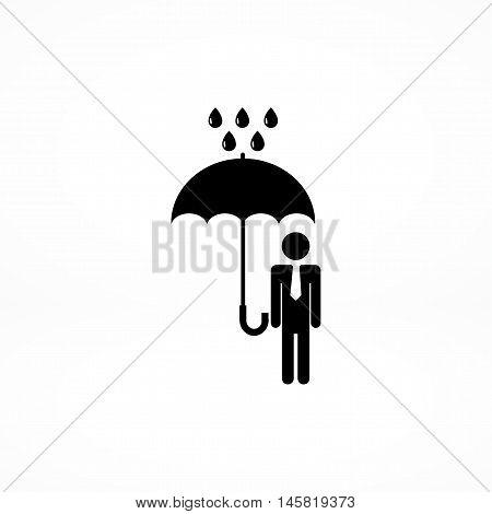 A Man With An Umbrella In The Rain Icon