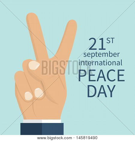 Peace Day concept. September 21 International Day of Peace. Gesture of the hands two fingers symbol. Vector illustration flat design. Isolated hand on white background.
