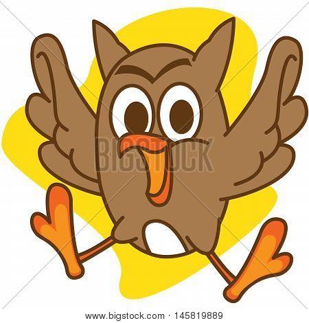 Brown owl Illustration Vector Art For Kids