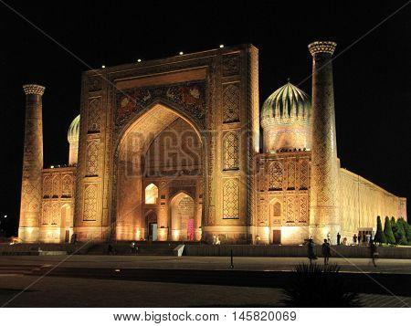 Mosque Sherdor on Registan Square in Samarkand city