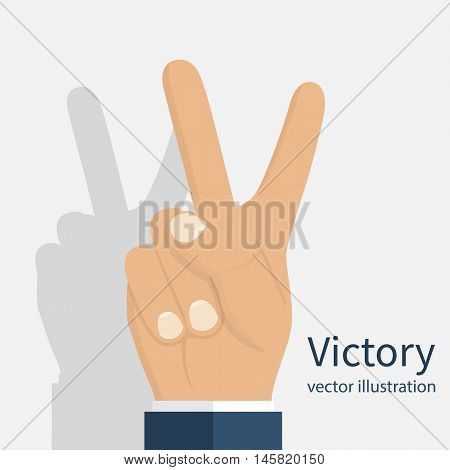 Symbol victory. Peace sign. Two finger gesture hand. Show two fingers. Vector illustration flat design. Isolated man's hand on white background.