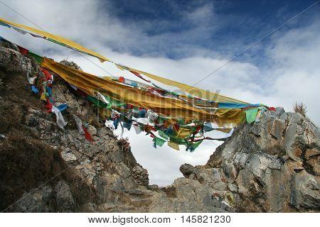 Pilgrim's flags in Ganden monastery, Tibet, China, Lhasa