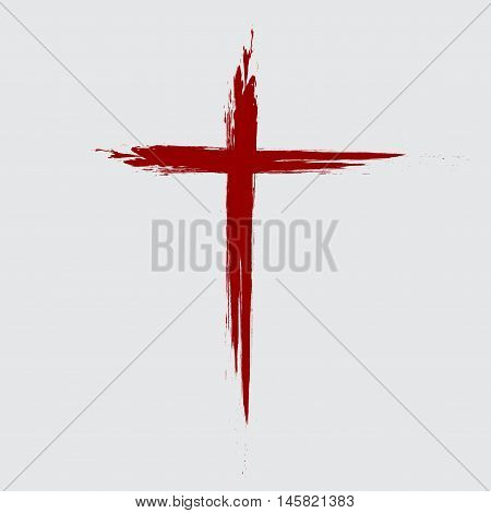 Hand drawn red grunge cross icon, simple Christian cross sign, hand-painted cross