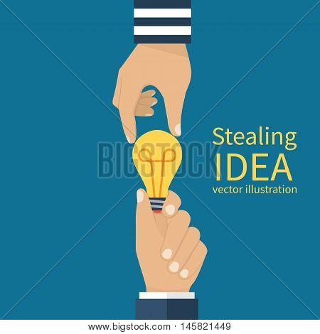 Concept of stealing ideas. Lamp in hands of man thief steals an idea. Copyright compliance. Vector illustration flat design.