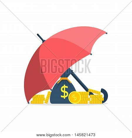 Protection money concept. Safe and secure investment insurance. Vector illustration flat design style. Umbrella as a shield to protect the gold coins savings.