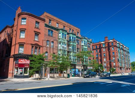 Boston, Massachusetts - June 2016, USA: Street view with old brick houses in Back Bay
