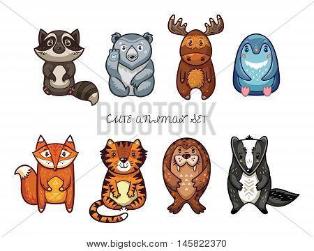 Vector illustration of animal. Funny cartoon animals - raccoon, polar bear, moose, penguin, fox, tiger, walrus and badger. Cute childish set