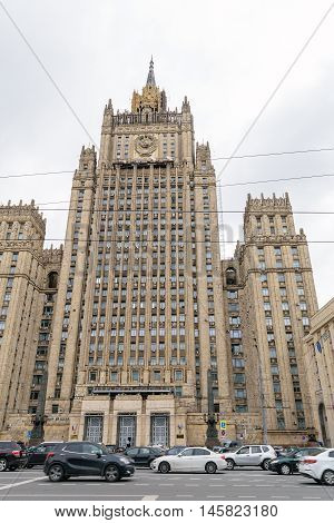 Moscow, Russia - July 14, 2016: Facade of the Ministry of Foreign Affairs of the Russian Federation