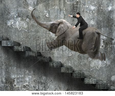 Businessman With Pointing Finger Gesture Riding On Elephant