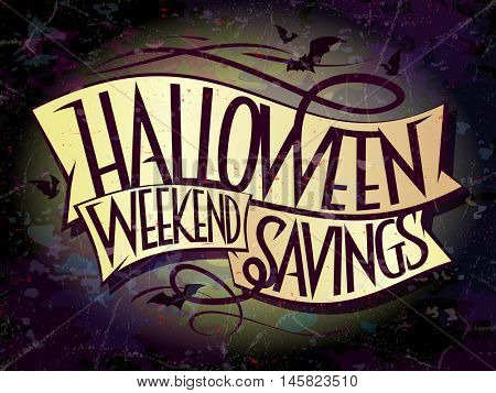 Halloween weekend savings sale banner with ribbons