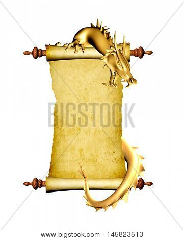 Dragon and scroll of old parchment. Object isolated on white background. 3d render