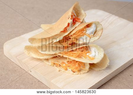 Thai Pancake It Is Delicious Snacks On Wood Background , Kind Of Thai Sweetmeat Or Kanom Buang - Tha