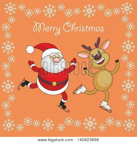 Greeting card merry Christmas and New Year with Santa Claus's image and cheerful deer