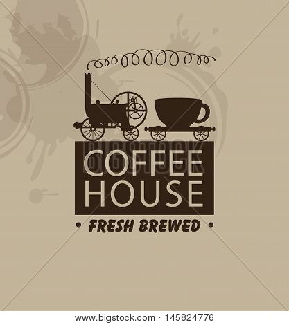vector banner for coffee houses with a vintage steam locomotive and a cup