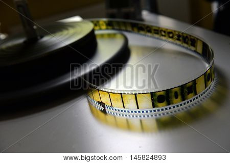 film strip on the pasteboard in studio