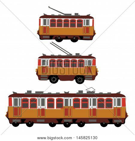 Vintage tram, electric train, trolleybus. Retro. Detail view of the side of the electric transport. Tourist tram. Vector illustration