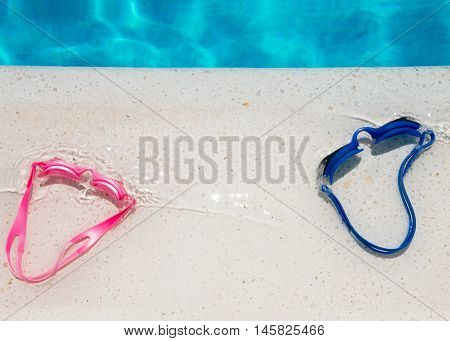 copy space made for poster or sign for water spots and swimming to announce events connected to summer vacations and fun outdoor Leisure Activity blue and pink colors used for unisex