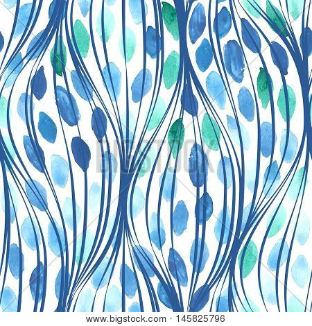 Seamless linear waves pattern with watercolor drops